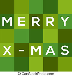 Merry Chrismas (X-mas) card in shades of green