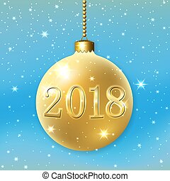 Merry Christmas 2018 decoration. Blue background. 3d gold bauble. Stars, glitter, number, white snowflakes, ball. Xmas card. Happy New Year celebration. Holiday design. Vector illustration