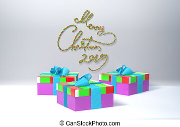 Merry Christmas 2019 lettering written by green and red spripe on white wall and three colorful present gift boxes with bows beside. 3d illustration