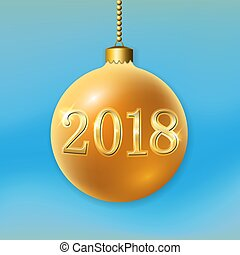 Merry Christmas 3D bauble, decoration with 2018 number. Gold ball, isolated on light-blue background. Bright golden holiday design. Xmas, Happy New Year celebration Vector illustration