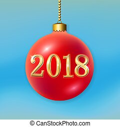 Merry Christmas 3D bauble, decoration with gold 2018 number. Red ball, isolated on light-blue background. Bright golden holiday design. Xmas, Happy New Year celebration Vector illustration