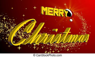 merry christmas 3D lettering in gold colour in front of a red background with gold stars