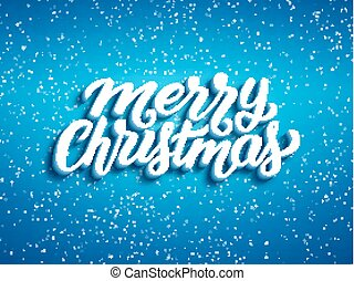 Merry Christmas 3D text on blue background