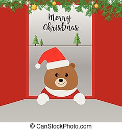 A bear in santa claus greeting card.