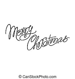 Merry Christmas - a cute inscription with curls made by hand in style of monoline