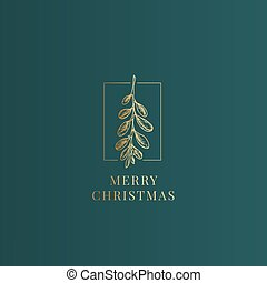 Merry Christmas Abstract Vector Classy Label, Sign or Card ...