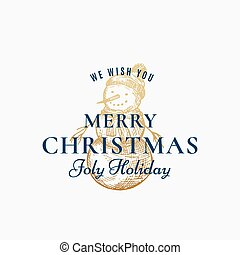 Merry Christmas Abstract Vector Retro Label, Sign or Card Template. Hand Drawn Golden Holiday Snowman Sketch Illustration with Fur Hat and Vintage Typography.