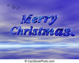 Merry Christmas against blue sky. - Merry christmas wish...