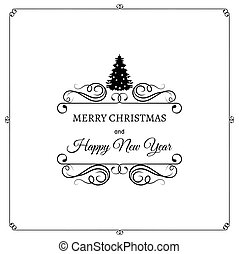 Merry Christmas And A Happy New Year. Greeting Card. Christmas Tree. Filigree scroll and frame divider decorated. Ornate Frame. Vector Illustration. Isolated