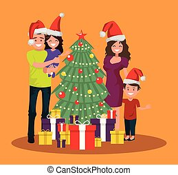The family is standing near the Christmas tree with presents.