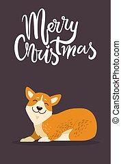 Merry Christmas and Calm Dog Vector Illustration