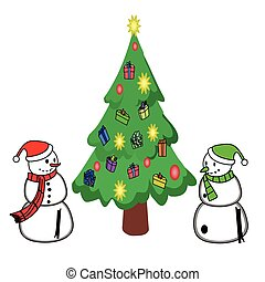 merry Christmas and Christmas tree