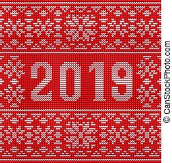 Merry Christmas and Happy 2019 New Year knitted background, vector illustration