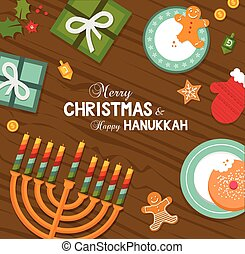 merry christmas and happy hanukkah celebration. vector ...