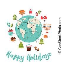 merry christmas and happy hanukkah. global celebrationvector...