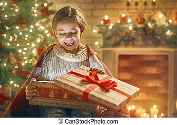 girl with present gift box