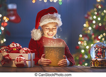 girl with present - Merry Christmas and Happy Holiday! Cute...