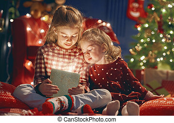 girls with present gift box