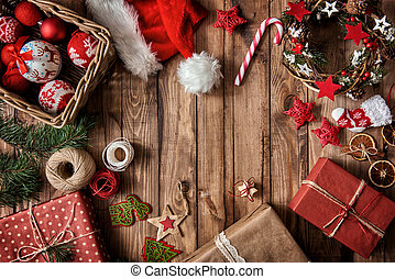 Baubles, presents, candy with christmas ornaments - Merry...