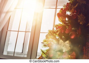 Christmas tree with toys baubles - Merry Christmas and happy...