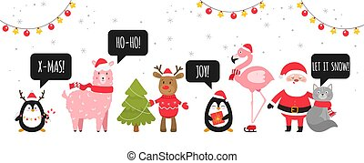 Merry christmas and happy New Near. Cute Christmas animals...