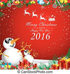 Merry Christmas and Happy New Year 2016. Two snowman in winter. The white snow and white reindeer on red background. Santa Claus