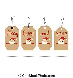 Merry Christmas and Happy new year 2017 Greeting Card, vector illustration