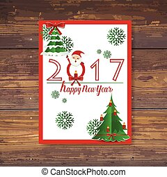 Merry Christmas and Happy new year 2017 Greeting Card with...