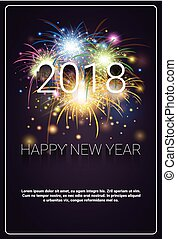 Merry Christmas And Happy New Year 2018 Banner Firework...