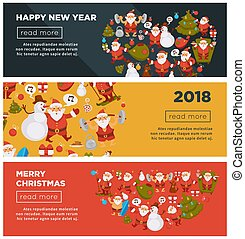Merry Christmas and Happy New Year 2018 Internet posters with cheerful Santa Claus with bag full of presents, decorated fir and snowman in tall hat that sings song cartoon flat vector illustrations.