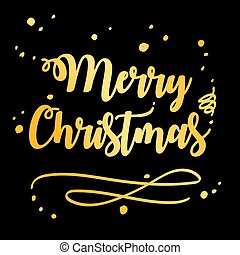 Merry Christmas and Happy New Year 2019 gold on black background