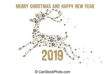 Merry Christmas and Happy New Year 2019 Greeting Card. Golden deer with snowflakes on a white background. Vector illustration.