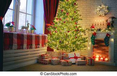 living room decorated for holidays