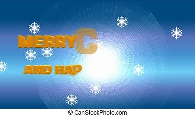 Merry christmas and happy new year, animated message on frosty winter blue background, snowflacken appearing. The banner is slowly rendered in orange letters in two rows