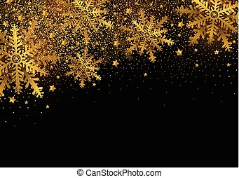 Merry christmas and Happy new year background design of gold snowflake with copy space
