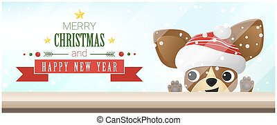 Merry Christmas and Happy New Year background with chihuahua...