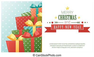 Merry Christmas and Happy New Year background with gift boxes 2