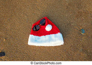 Merry Christmas and happy New year background with Santa Claus hat and sunglasses