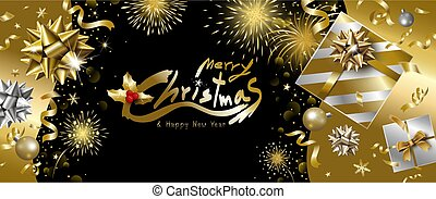Merry Christmas and Happy New Year banner design of luxury gift box with ribbon falling and fireworks background vector illustration