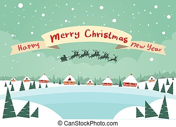 Merry Christmas and Happy New Year Banner Santa Claus Sleigh...