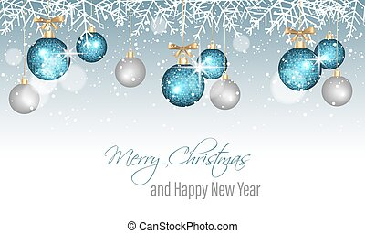 Merry Christmas and Happy New Year banner with snowflakes, snow, blurred circles, blue and silver hanging bauble.