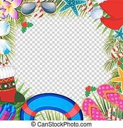 Merry christmas and happy new year border in a warm climate design style.