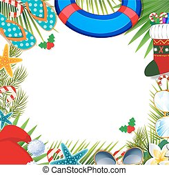 Merry christmas and happy new year border on a warm climate design background.