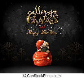 Merry Christmas and Happy New Year calligraphic gold texture inscription. Cute puppy is climbing out from Santa clauses bag.