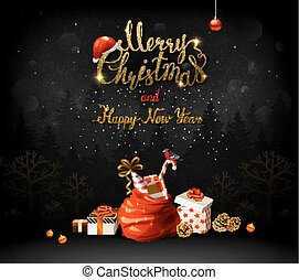 Merry Christmas and Happy New Year calligraphic inscription. Holiday symbols and gifts.