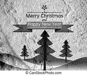 Merry Christmas And Happy New Year card on Cement wall Backgroun