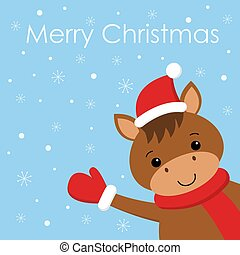 Merry Christmas and Happy New Year card with funny horse in Santa hat and scarf. Snow background.