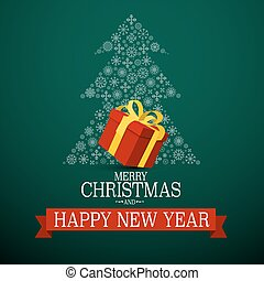 Merry Christmas and Happy New Year, Card with Red Gift ox and Snowflakes Tree on Green Background. Vector.