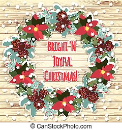 Merry Christmas and Happy New Year Card. Wood background