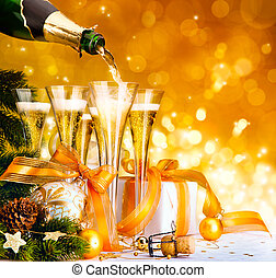 Christmas greeting card ( glasses of champagne, Christmas tree and gifts, New Year party )